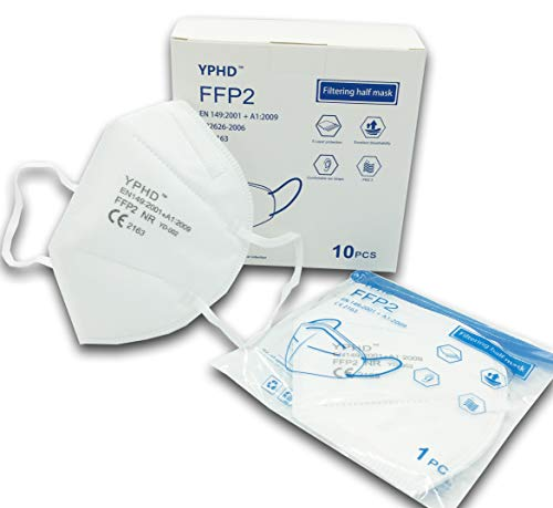 FFP2 Mund- und Nasenschutz Maske mit EC Zertifizierung, 4 Lagige Maske ohne Ventil, Staub- und Partikelschutzmaske, Medizinische Schutzmaske mit Hoher BFE-Filtereffizienz ≥ 95, 10 Stück