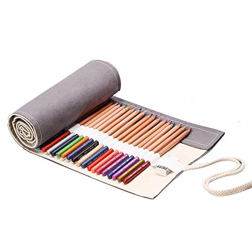Handmade Canvas Pencil Roll Wrap 36/48/72 Holes, Multiuse Roll Up Pencil Case Large Capacity Pen Curtain for Coloring Pencil Holder Organizer (72-Slots, Grey)
