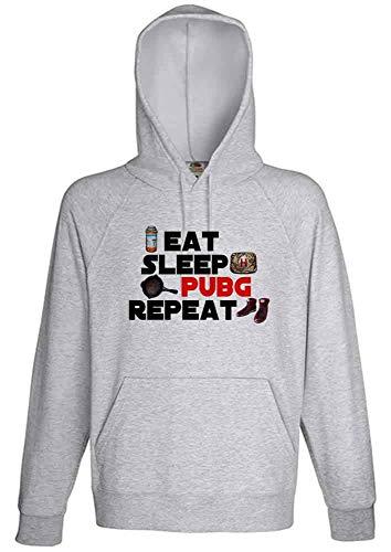 Gamer Fan Eat Sleep Pubg Repeat Grey Hoodie Sweatshirt Pullover (S)