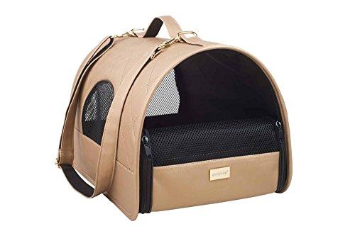amiplay Hundetragetasche 'Venus' | Transportbox | Hundebox | Transporthütte | Hundetasche | Hunde-Reisebox, Farbe:Gold, Größe:L | 45 [x] x 29 [y] x 28 [h] cm