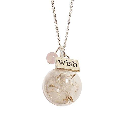 LunarraStar Collar con colgante de cristal de diente de león para mujer, chapado en plata, diseño redondo de cuarzo rosa, rosa