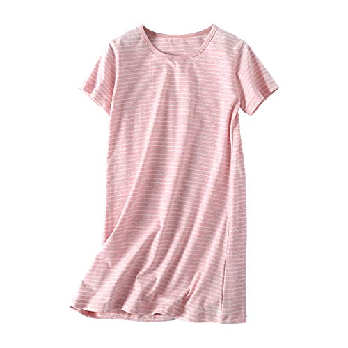 Uobzyaq Princess Nightgowns for Toddler Girls Cotton Stripe Sleepwear Pajamas Summer Short Sleeve Nightdress for 3-10 Years Pink Size 5-6Years(120)
