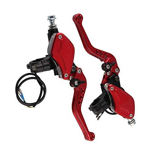 """1 Paar hydraulische Bremse Kupplungshebel mit Transparent-Öltank, justierbarer 7/8"""" Motorradsport Motorroller Universelles (Red)"""