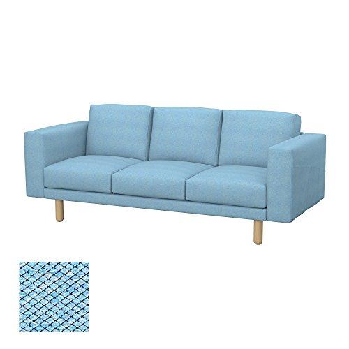 Soferia - IKEA NORSBORG Funda para sofá de 3 plazas, Nordic Blue