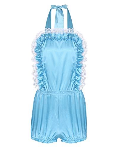 IEFIEL Barboteuse Homme Adulet Sissy Lingerie de Chambre Maillots de Bain Costume Fantaisie Cosplay Grande Bébé Shorts de Bain Dos Nu Satin Pyjama M-XXL Bleu Ciel M