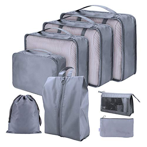 7PCS Luggage Suitcase Organizer + 1PCS Free Cosmetic Pouch, Lightweight Waterproof Oxford Packing Cubes for Clothing Sorting, Travel Accessories (Grey)