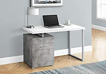 Monarch Specialties Laptop/Writing Floating Desktop-3 Storage Drawers-Left or Right Setup-Home Office Computer Desk 48  L White Top/Grey Concrete-Look