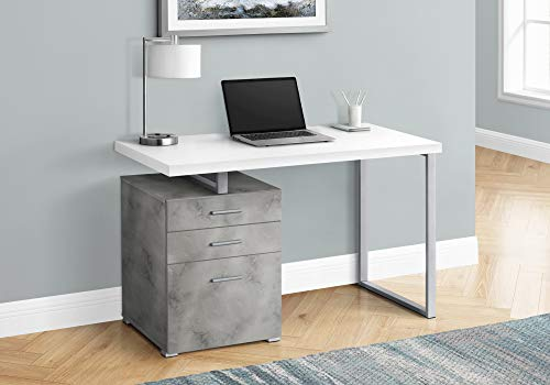Monarch Specialties Laptop/Writing Floating Desktop-3 Storage Drawers-Left or Right Setup-Home Office Computer Desk, 48' L, White Top/Grey Concrete-Look