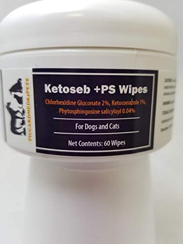Piccardmeds4pets Chlorhexidine Wipes for Cats and Dogs, 60 Count