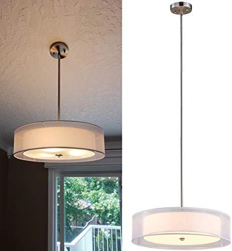 Depuley Lámpara de techo LED de altura regulable, redonda, moderna, lámpara de techo para comedor, con 3 portalámparas E27, pantalla de tela, lámpara de comedor para salón, dormitorio, cocina