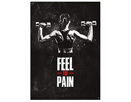 GREAT ART Motivationsposter 59,4 x 42 cm – Poster Format A2 Wandposter Fitnessposter für das Fitnesstudio, Wohnung und Trainingsraum – Motivational Quotes – Feel The Pain – Nr.7