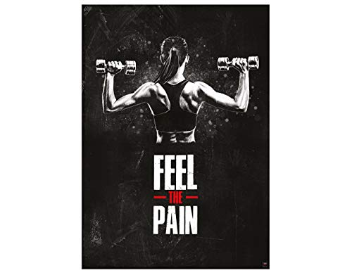 GREAT ART Motivationsposter 59,4 x 42 cm – Poster Format A2 Wandposter Fitnessposter für das Fitnesstudio, Wohnung und Trainingsraum – Motivational Quotes – Feel The Pain – Nr.7
