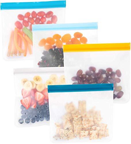 Keeper Reusable Ziplock Bags (5 Set, 32 oz) - Reusable Sandwich Bags For Kids Make Great Lunch Bags. Reusable Snack Bag Keeps Food Fresh. Plastic Food Storage Baggies Are Freezer Safe (Blue Skies)
