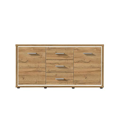 NEWFURN Sideboard Commode Natuur Dressoir Highboard Multifunctionele kast II 145,2x80,2x 37 cm (BxHxD) II [Flynnnnnnnnnnnn.thirtyseven] in Grandson donker eiken / Grandson eiken donker woonkamer slaapkamer eetkamer