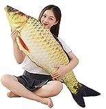 JULAN - Cojín de peluche gigante con diseño de pez de carpa, para decoración del hogar, regalo para niños, juguete de peluche, algodón, dorado., 80 cm