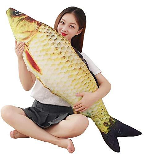 JULAN 3D riesiges weiches Fischkissen, Karpfen-Plüschkissen, Stoffspielzeug, Dekokissen für Zuhause, Geschenk, Kinder, Stofftier, baumwolle, Goldfarben., 80 cm