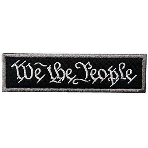 We The People Tactical Embroidered Morale Applique Fastener Hook&Loop Patch - Black