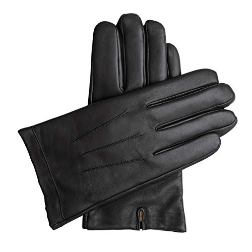 Downholme Classic Leather Cashmere Lined Gloves for Men (Black, M)