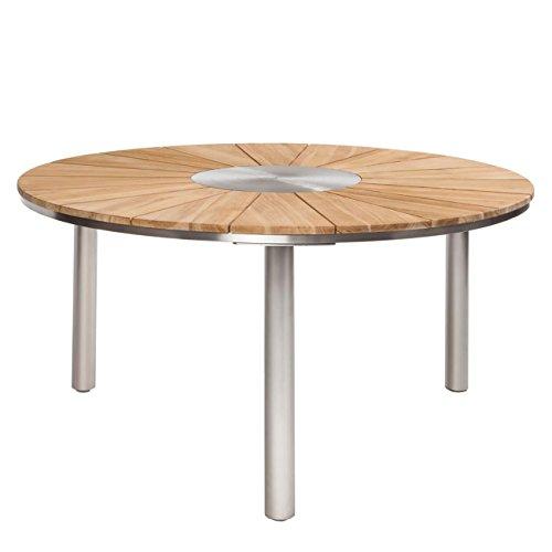 OUTLIV. Wien Gartentisch Ø150 cm mit Gestell aus Edelstahl und Tischplatte aus recyceltem Teakholz, jeder Tisch ist einzigartig