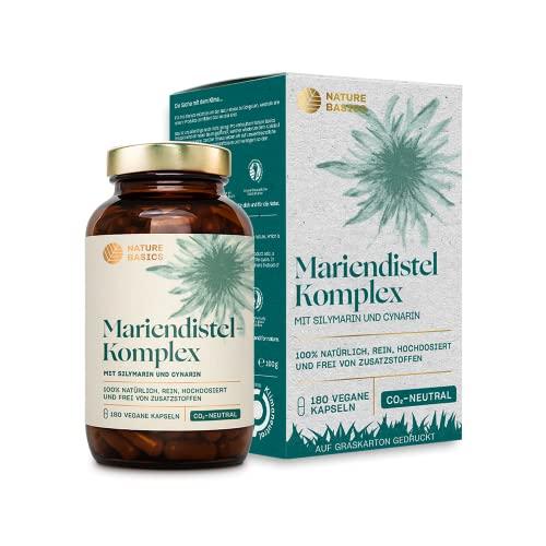 Nature Basics® Mariendistel Kapseln hochdosiert zertifiziert & nachhaltig im Glas | 180 Kapseln mit 80% Silymarin & 2,5% Cynarin | 900mg pro Tagesdosis | laborgeprüft, ohne Zusatzstoffe & CO2-neutral