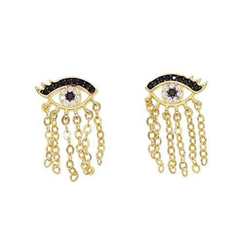 Xpccj Pendientes de tuerca, color blanco y negro con circonita cúbica, diseño de ojo turco, con borla romántica para mujer, color dorado (Color del metal: color dorado)