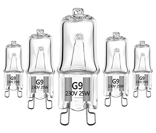 25W Spezial G9 Halogenlampe für Mikrowellenherdlampe und Ofenlampe , 230v Halogenlampe Tolerant bis 300 Grad C(5er Pack)