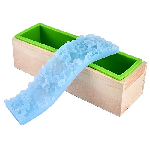Gegraveerde zeep siliconen mal set rechthoekige brood toast vorm met houten doos en bloem mat D0021