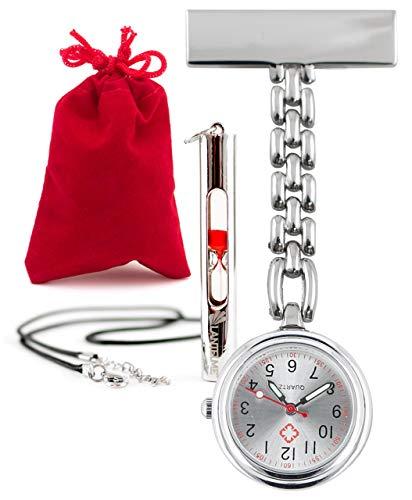 Lantelme Krankenschwesteruhr Puls Sanduhr 15 Sekunden Set Samtbeutel Pulsuhr Kitteluhr analog Metall 3342