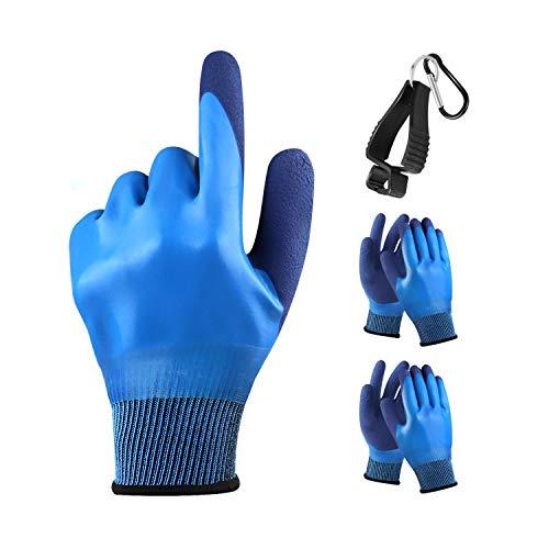 Arbeitshandschuhe,DIAOPROTECT 3 Paar Schutzhandschuhe Gartenhandschuhe Doppelseitig Wasserdicht Handshuhe für Herren Damen,Latexhandschuhe Rutschfest für Garten,Pflanzen,Landwirtschaft,Industrie(9/L)