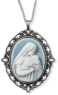 CB A Mother's Kiss Madonna with Child Virgin Mary and Baby Jesus Christ Light Blue Cameo, Vintage Design 1.5