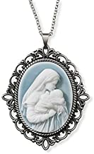 A Mother's Kiss Madonna with Child Virgin Mary and Baby Jesus Christ Light Blue Cameo, Vintage design 1.5