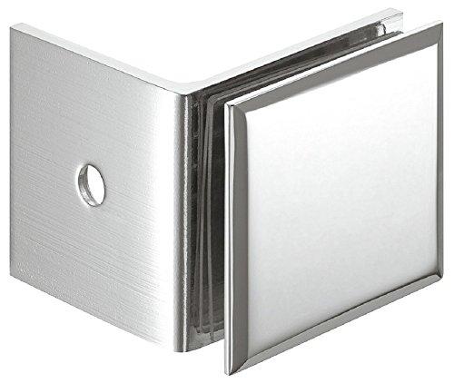 Gedotec Winkel-Glashalter für Duschen Glas-Klemmhalter für Wand-Montage | Punkthalter Messing Chrom poliert | Glasklemmen-Befestigung für 90° Glasfront | 1 Stück - Duschkabinen-Halter Glas-Verbindung