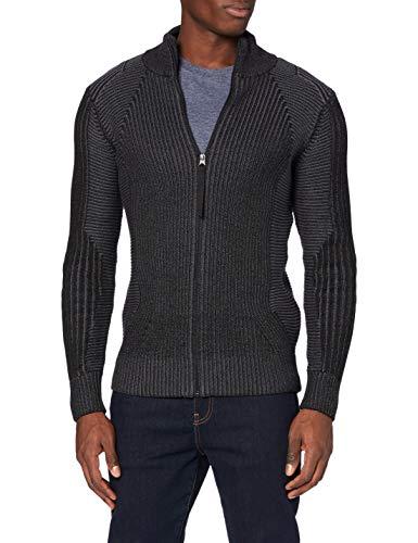 G-STAR RAW Mens Plated 3D Biker Zip Through Cardigan Sweater, dk Black/Lead C259-B911, M
