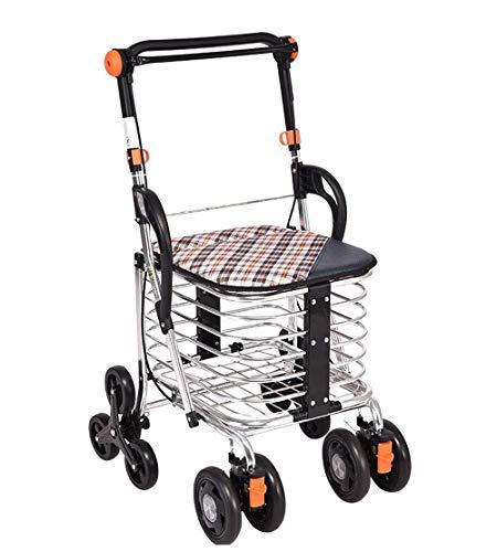 Inklapbare rollator met gevoerde zitting, afsluitbare rem, ergonomische handgreep en draagtas voor seniorenwinkel.