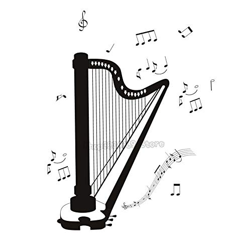 zqyjhkou Self Adhesive DIY Whiteboard Home Decor All Kinds Musical Note Living Room Bedroom Decoration Harp Wall Stickers Removable 95x113cm