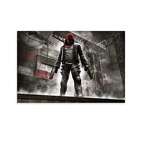 FUUU Póster decorativo de Batman Arkham Knight con capucha roja de 50 x 75 cm