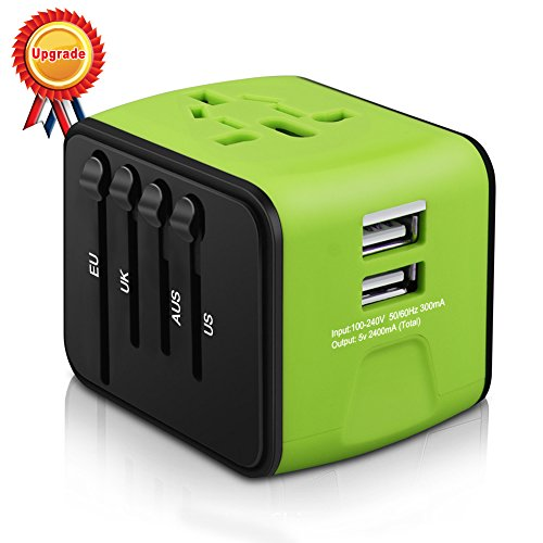 Universal Travel Adapter, All-in-one International Travel Charger with 2.4A Dual USB, Travel Power Adapter Travel Wall Charger for US, UK, EU, AU & Asia Covers 150+Countries (Green)