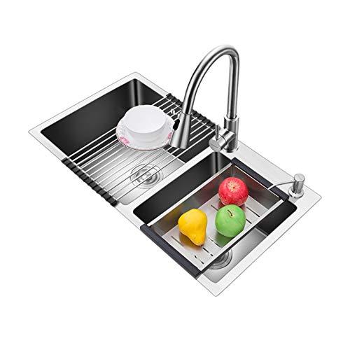 TONGSH Fregadero, fregadero de la cocina de acero inoxidable 304, acero espesado manual manual sin lavamanos fregadero (Size : 72 * 39cm)