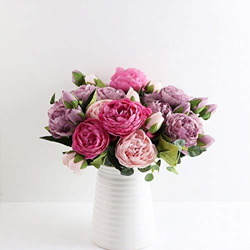 JINGER Decoración de Arte 30cm Rose Rose soie pivoine Fleurs artificielles Bouquet 5 Grande tête et 4 bourgeon Pas Cher fausses Fleurs pour la Maison Mari Flor Artificial (Color : 6)