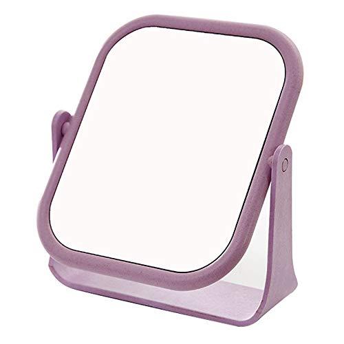 Miroir de Maquillage Double Face, Commode en Plastique de Banc Pliant Portable Carré Rose