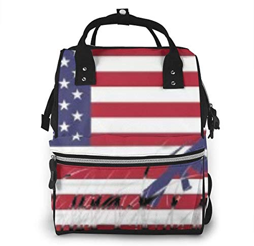 American Flag Diaper Bags Fashion Mummy Backpack Multi Functions Large Capacity Nappy Bag Nursing Bag for Baby Care for Traveling