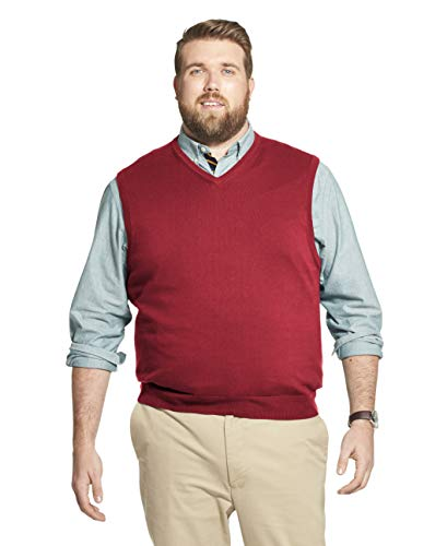 IZOD Men's Big & Tall Tall Premium Essentials Solid V-Neck 12 Gauge Sweater Vest, Biking RED, 2X-Large Big