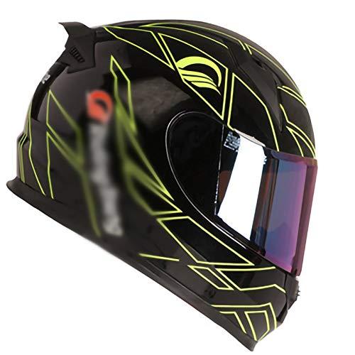 Full Face Motorcycle Crash Helmets,Four Seasons Anti-Fog Lens DOT/ECE Certification Suitable for Motorcycle Scooters Full Face Motorbike Helmet 5,L56~57cm