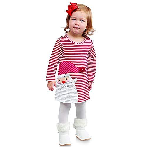 VESNIBA Vestido de Navidad para niños y bebés, diseño de Papá Noel a rayas rojo 110 cm