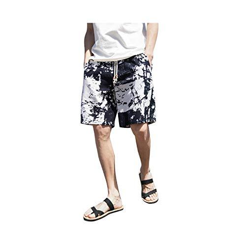 short Hommes Pantalon Large Braisted Sarouel Coton Lin Jambe Large Pyjama Lâche Pantalon de Survêtement Hommes de Sport Fitness Pantalon de Plage - Noir - L