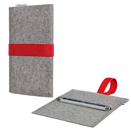 flat.design Handy Hülle Aveiro kompatibel mit Emporia TOUCHsmart maßgeschneiderte Handytasche Filz Tasche Sleeve Pouch Grau rot