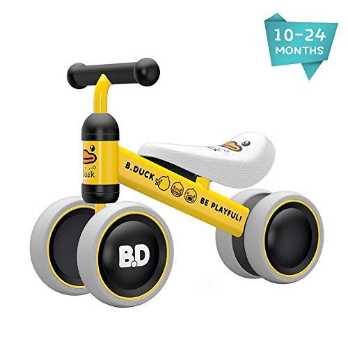 XIAPIA Kinder Laufrad Spielzeug für 10 - 24 Monate Baby, Lauflernrad mit 4 Räder, Erst Fahrrad für Jungen/Mädchen als Geschenke für 1 Jahr Alt (Gelb Ente1)