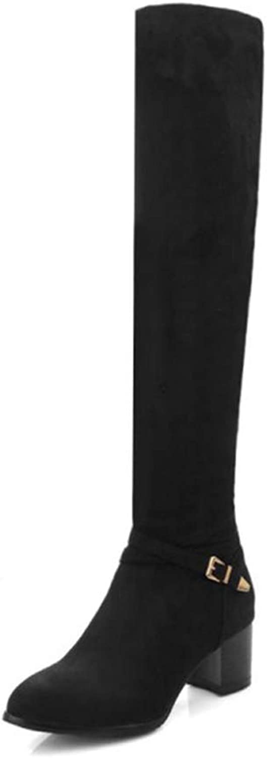 Over The Knee Boots Chunky Heels Pointed Toe Spring Autumn Less Platform shoes