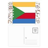 コモロのアフリカの国の国旗 公式ポストカードセットサンクスカード郵送側20個