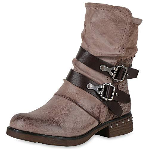 SCARPE VITA Leicht Gefütterte Damen Stiefel Biker Boots Schnallen Stiefeletten 150242 Khaki Nieten Leicht Gefüttert 41